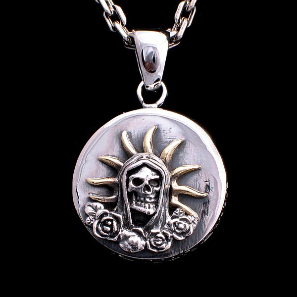 Pendant medal death or santa muerte gothic and rock jewelry santa muerte pendant mozeypictures Images