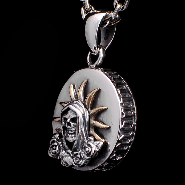 Pendant medal death or santa muerte gothic and rock jewelry santa muerte pendant santa muerte pendant mozeypictures Gallery