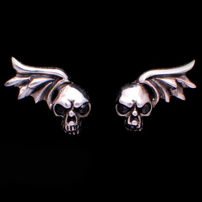 Skull and wing earrings