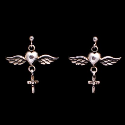 Winged heart + cross earrings