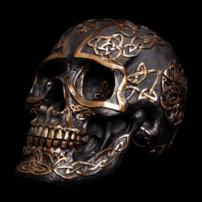Celtic black and gold skull
