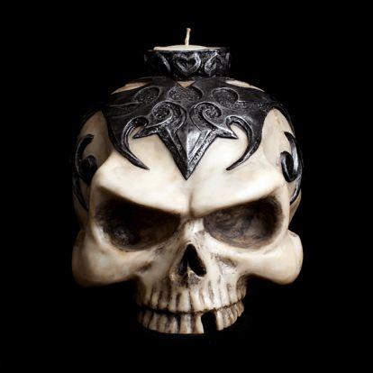Tribal skull candleholder