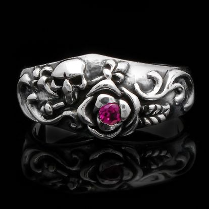 skull and roses ring