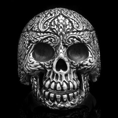 Bague crâne et motifs végétaux