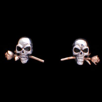 Boucles d'oreilles crânes et roses