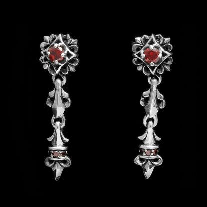 red stones earrings